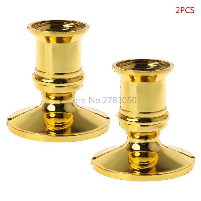 2 Stücke Kunststoff Gold Überzogene Kerze Basis Halter Säule Kerzenhalter Stehen Für Elektronische Kerzen Verjüngt Weihnachten Party Home Decor