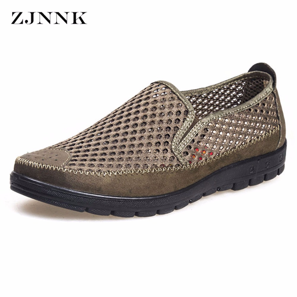 цена ZJNNK Summer Men Mesh Shoes Big Size Male Casual Shoes Breathable Slip-On Chaussure Homme Light Soft Men Summer Shoes Big Size