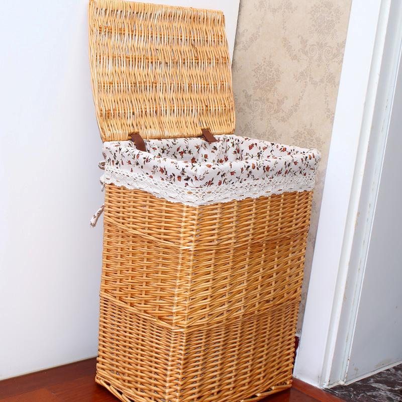 Woven Wicker Baskets Laundry Hamper Sorter Storage Basket With Lid Cover Small Large Laundry Basket For Clothes Panier Baby Kid