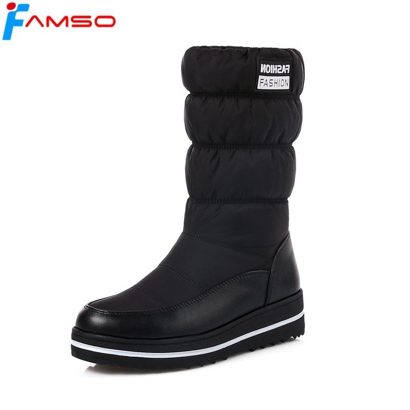 FAMSO 2018 Big Size34-43 3Colors Shoes Women Boots Designer Winter Snow Boots Mid-Calf Russia Winter Warm Full Fur Boots SBT4602