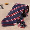 Mens Corbatas de Rayas Azul Marino y Burdeos y Blanco de La Raya Corbatas 7 cm Delgado Partido Vestido de Tejidos en Jacquard de Microfibra Corbata Para Hombre Lazos rayados