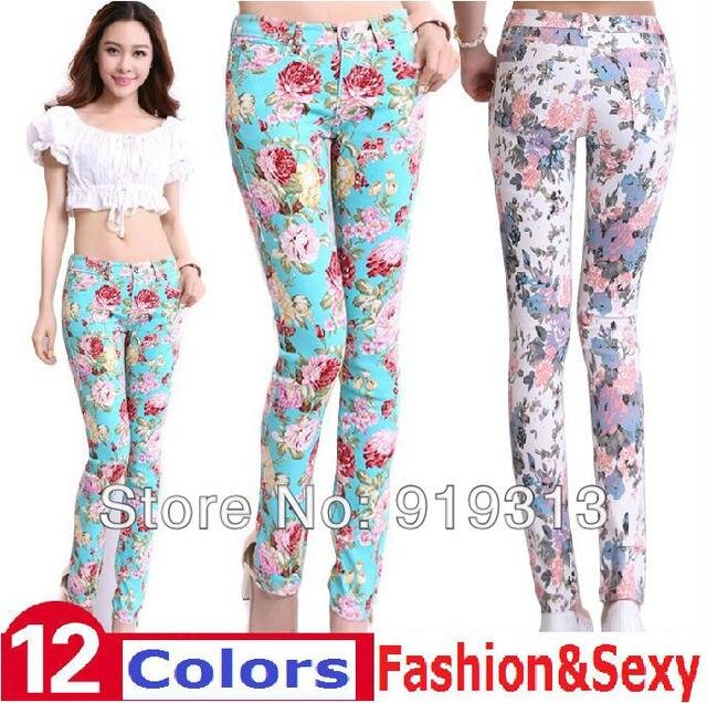 Новый 2015 весна лето женские карандаш брюки джинсы печать цветочные дискотека джинсы горячая распродажа формочек сапоги за мода Большой размер
