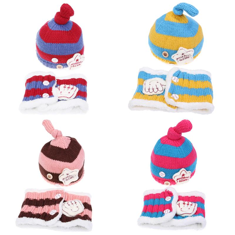 2pcs/set Baby Hat and Scarf Kids Winter Thick Cap Star Pattern Warm Hat Baby Cap Kids Boys Girls Beanies Infant Toddler Hats Set