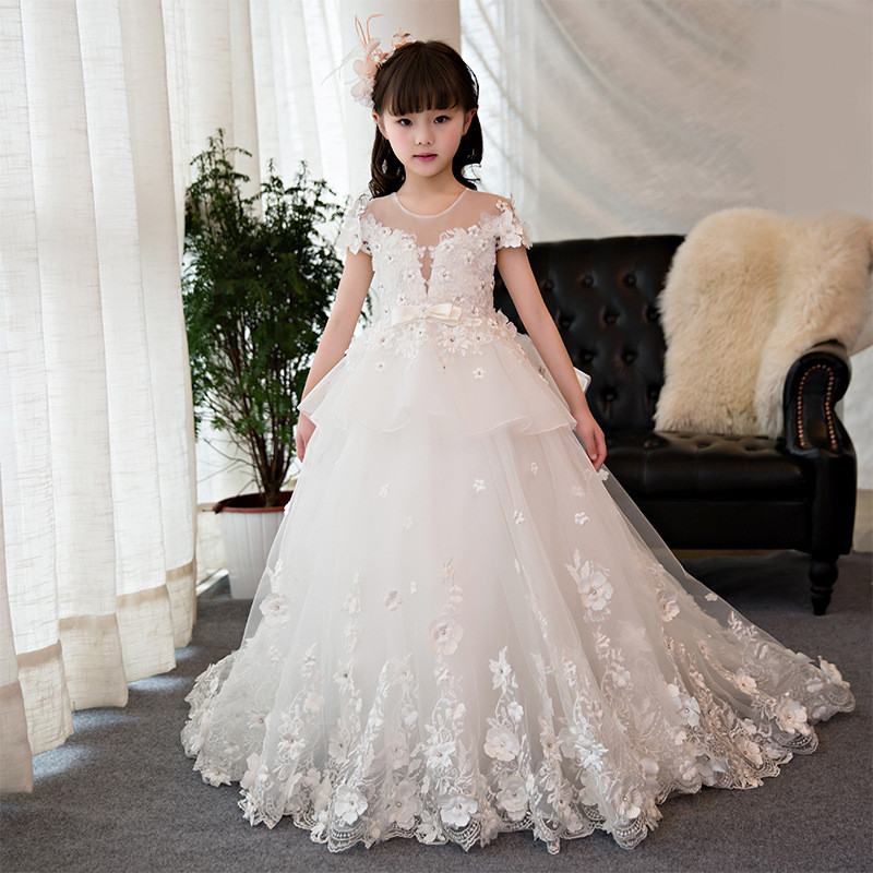 New kids Girls Lace Appliques Long Prom Wedding Bridesmaid Dress Teens Children Tulle Beading Elegant Princess Party Gowns Q101New kids Girls Lace Appliques Long Prom Wedding Bridesmaid Dress Teens Children Tulle Beading Elegant Princess Party Gowns Q101