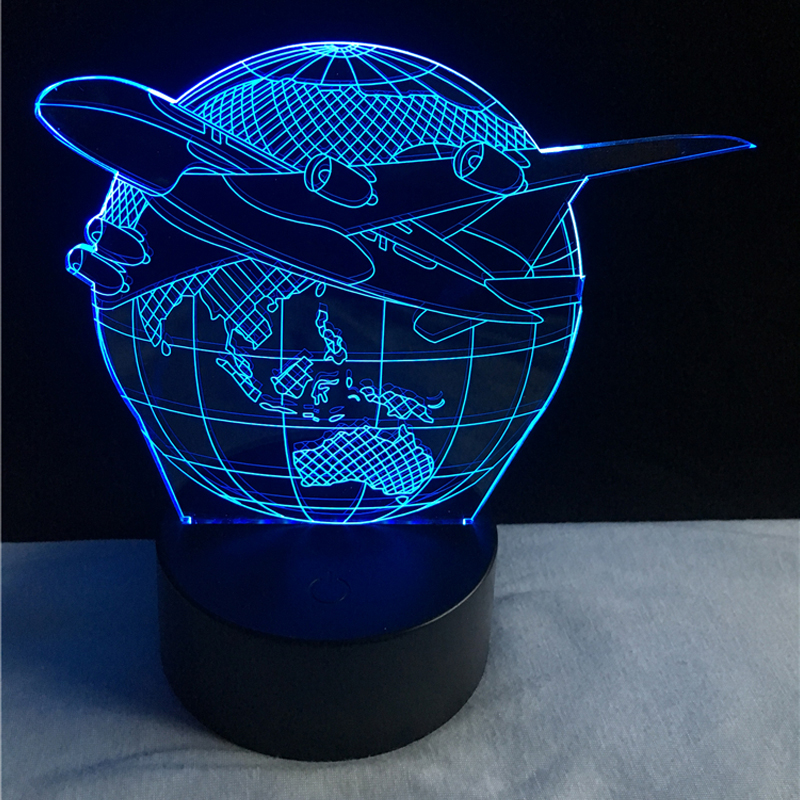 2017 Creative 3D USB LED Lamp Globe Earth Plan Aircraft Triumph Skies 7 Colors Changing Mood Bulb Pilot Gift Room Decoration RGB bprd hell on earth v 7