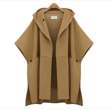 [soonyour] European Station 2017 spring new hooded bat sleeve cape woolen jacket plus size ladies loose woolen coat AS19054XXL