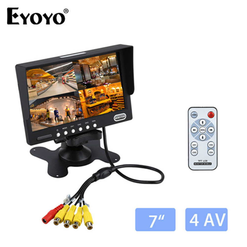 Eyoyo KJ-708 Mini 7'' TFT LCD Color 500:1 Bright Car Rear View  800x480 4 Split Monitor 4 Video Inputs For Car Backup Camera diysecur 4pin dc12v 24v 7 inch 4 split quad lcd screen display rear view video security monitor for car truck bus cctv camera