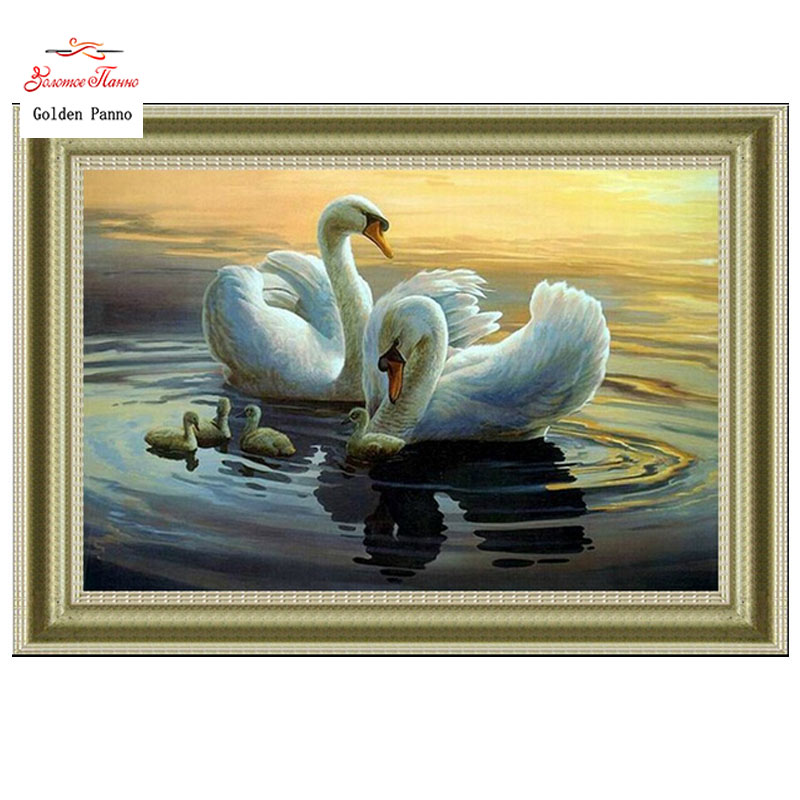 Golden Panno,Needlework,DIY DMC Cross stitch,Sets For Embroidery kits,Precise Printed swans Patterns enough thread Counted Cross