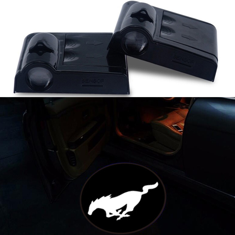 2x Car Logo Ghost Shadow Emblems Wireless Door Sensor Lights No Drill Led Laser Door Shadow Light Welcome Projector Lamp Mustang 2 x wireless led car door logo projector welcome ghost shadow light for suzuki swift sx4 s cross jimmy alto celerio grand vitara