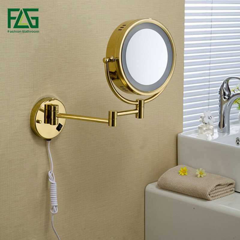 Golden Brass LED Light Makeup Mirrors 8 5 Round Dual Sides 3X 1X Mirrors Bathroom Cosmetic