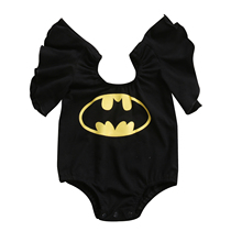 Summer Cute Batman Cotton Boys Rompers Printed Batman Baby Boys Clothes Rompers Black Red 0-3T