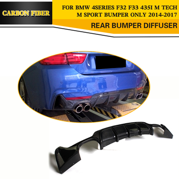 For BMW 4 Series M4 435i 440i F32 F33 F36 M Sport Coupe Convertible 2-Door 2014-2019 Carbon Fiber Rear Bumper Lip Diffuser image