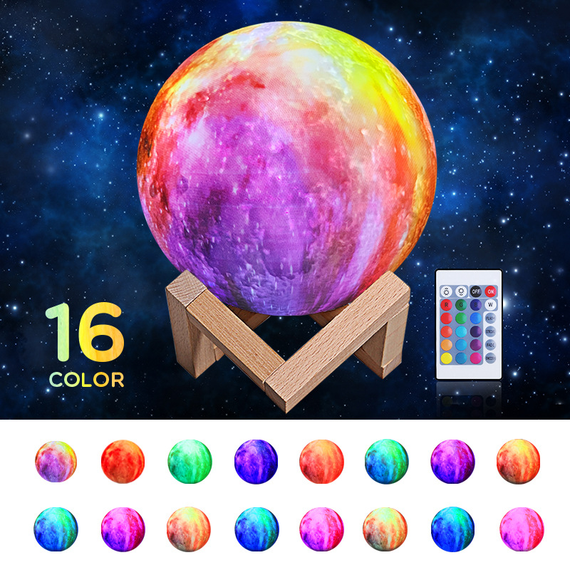 3D Printer Moon LED Atmosphere Lamp Home Office Bedroom Decoration Christmas X'mas New Year Smart Creative Gift Night Lights