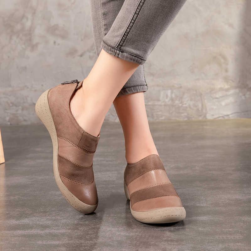 2018 Sonbahar Yeni Varış Hakiki Deri Kadın Bootie Takozlar El Yapımı Vintage Karışık Renkli Bayan Ayakkabıları yarım çizmeler