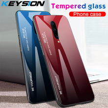 KEYSION Gradient Tempered Glass Phone Case For Oneplus 7 Pro Case Soft Silicone Edge Hard Glass Back Cover For One Plus 7 Pro 6T
