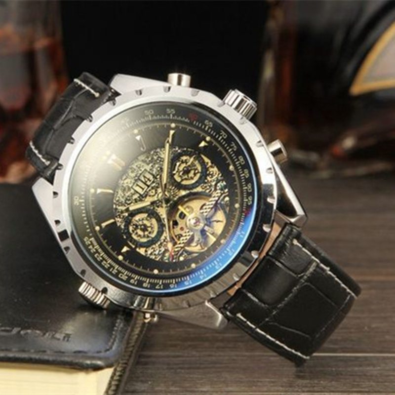 2016 JARAGAR Tourbillon Automatic Watches Mens Top Brand Luxury Leather Band Business Mechanical Wristwatches Nobel Montre