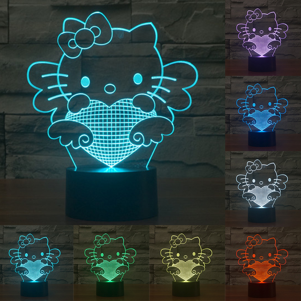 Cute Cartoon Hello Kitty 3D Lamp 7Colors Changing LED Nightlight Touch Sensor Decorative Table Lamp for