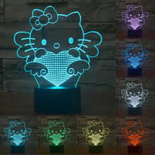 Cute Cartoon Hello Kitty 3D Lamp 7Colors Changing LED Nightlight Touch Sensor Decorative Table Lamp for Home Decor IY803503