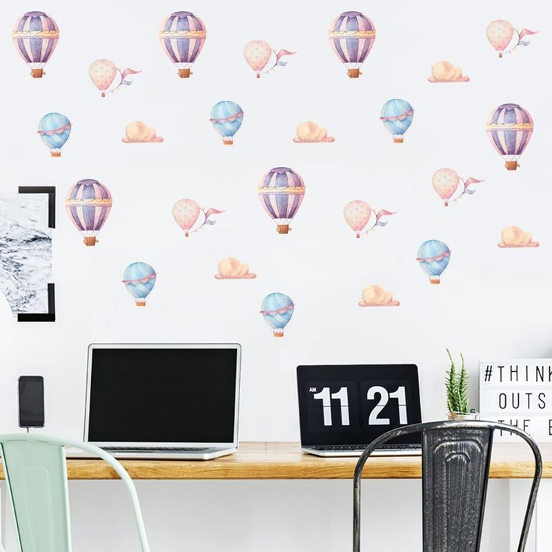 Balleenshiny 24pcs/Set Hot Air Balloon Wall Sticker DIY Vinyl Children Room Bedroom Decals Home Nursery Background Decor Paste