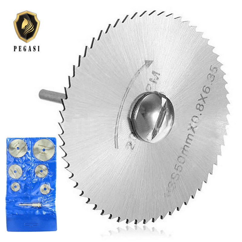 PEGASI 6PCS HSS Mini Circular Saw Blade Set Rotary Tool Cutting Blades Discs Mandrel For Dremel Cut Off