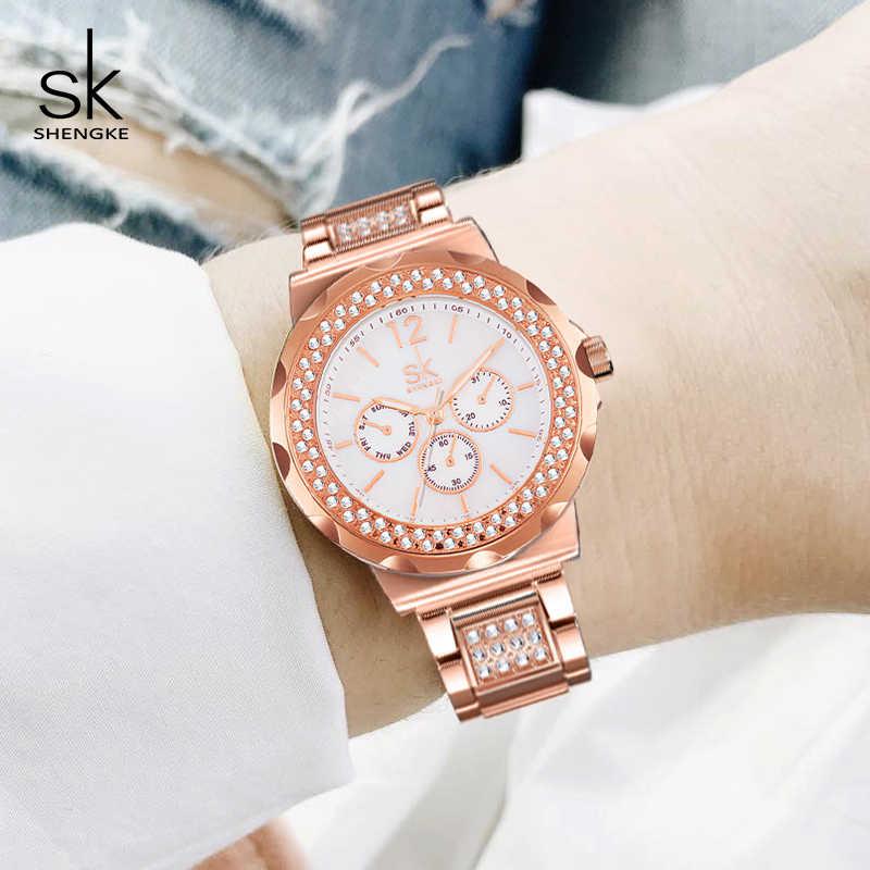 4be3540fde8 Shengke Luxury Quartz Watch Women Ladies Stainless Steel Bracelet Watches  Reloj Mujer 2019 SK Rose Gold