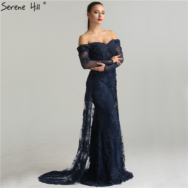 С длинным рукавом вышивка жемчугом пикантные вечерние платья 2018 г. модные элегантные кружева русалка вечернее платье LA6377