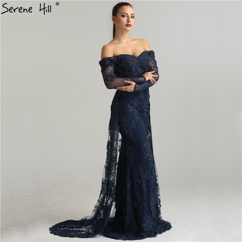 Long Sleeve Embroidery Pearls Sexy   Evening     Dresses   2019 Fashion Elegant Lace Mermaid   Evening   Gown LA6377