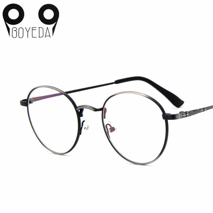 e16c82f2f11f BOYEDA New High Quality Men Women Retro Round Metal Eyeglasses Frames Korean  Myopia Glasses Frame