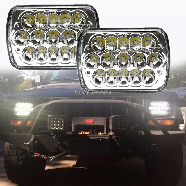 1pair 7inch Chrome Square Led Headlights Hi Low Beam For Jeep Rh Aliexpress  Com Air Intake For 1990 Jeep Wrangler 1995 Jeep Wrangler Parts