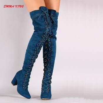 2019 New Cross-Tied Women Over The Knee Boots Pointed Toe Roman Chunky High Heels Shoes Woman Winter Thigh High Long Knight Boot