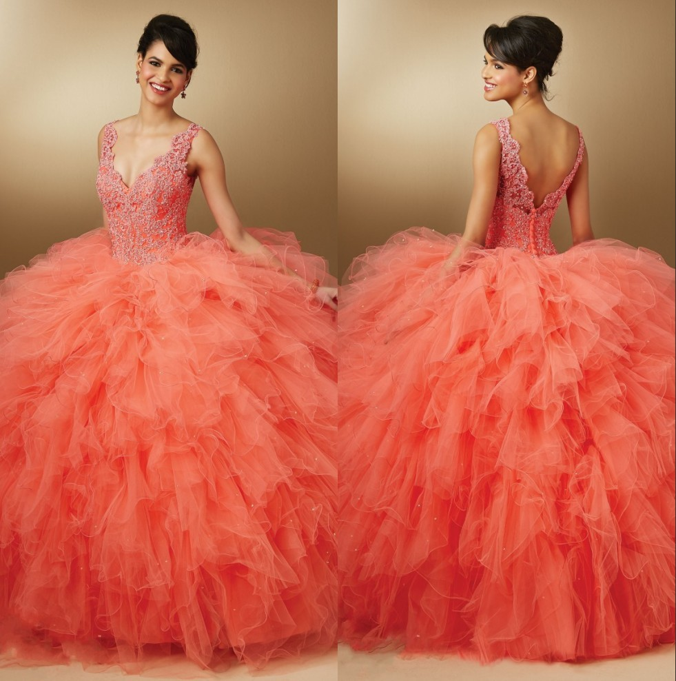 Popular Orange Quinceanera Dress-Buy Cheap Orange Quinceanera ...