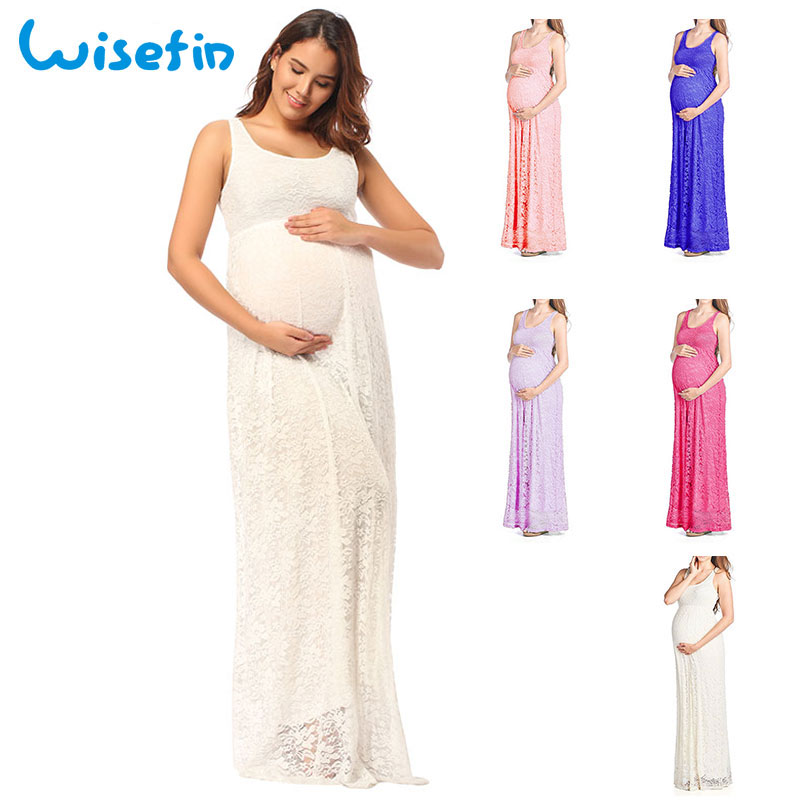 Wisefin Pregnancy Maxi Dresses Lace Maternity Dresses Summer Sexy Vestido Maternity Long Dress Photography Pregnant Clothing