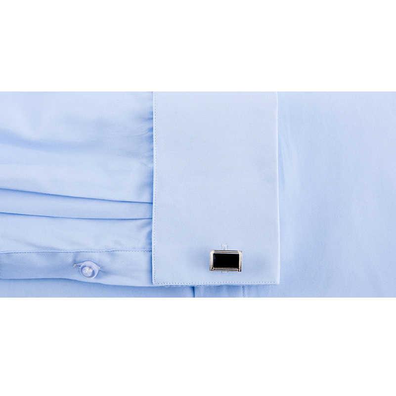 VISADA JAUNA 2019 春ドレス男性のシャツフィットスリム長袖フォーマルカミーサ Masculina 結婚式の男性フレンチカフスシャツ N9002