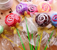50pcs Lot Free Shipping Lollipop Shaped Cake Towel Favor Gifts Wedding Gifts Baby Shower Towel Gifts