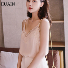 Lace Top Camis Sexy Tank Top Women Camisole Ladies 2017 New Solid Colour V-Neck Sleeveless Shirt Backless Summer Shirt Female