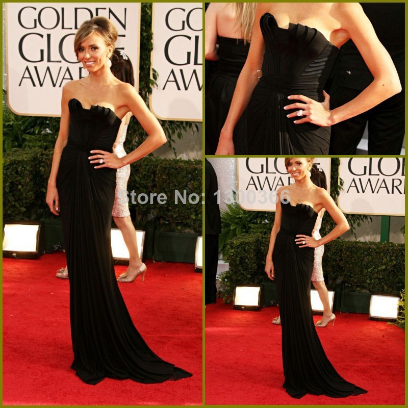 2014 New Celebrty Red Carpet Dress Black Strapless Elegant Sexy