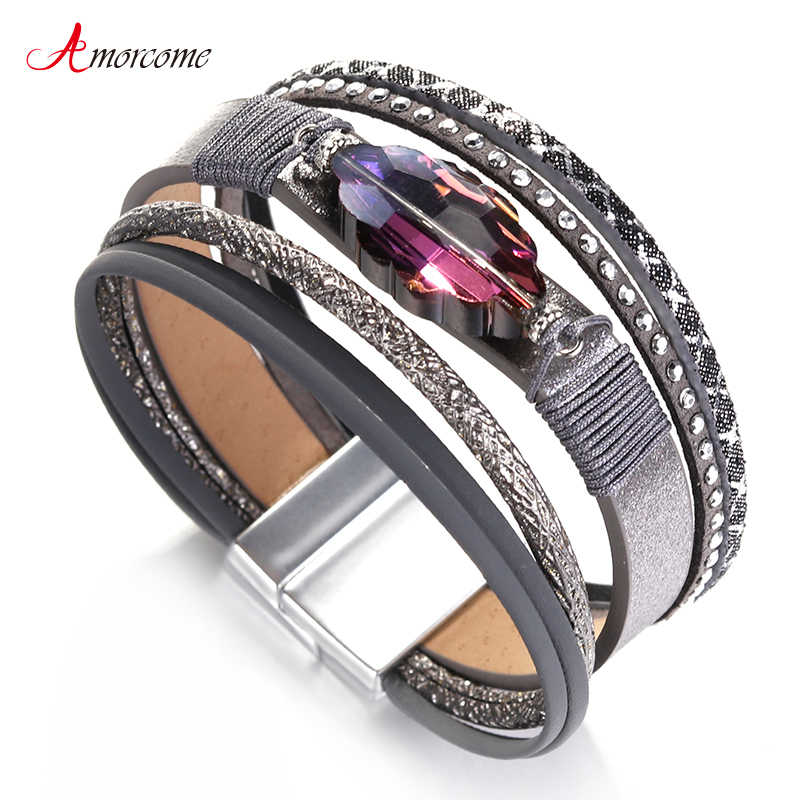 Amorcome Purple Rhinestone Leather Bracelets for Women Bracelets & Bangles Fashion Jewelry Mulitlayer Wrap Wide Bracelet Femme