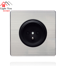 EU French Socket panel black round stainless steel wall power supply 16A standard socket 86*86mm