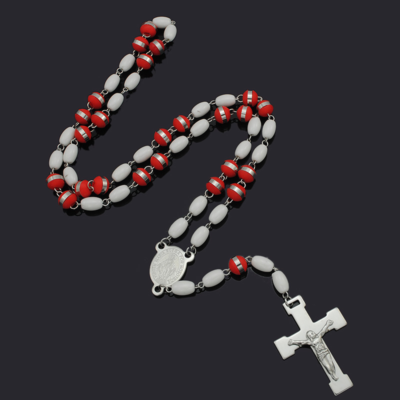 Dolaime 65cm*8mm long Vintage Beads Cross Religion jewelry stainless steel men women Trendy Rosary Unisex Necklace GRN54