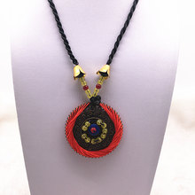 Fashion Red/Green Retro Alloy Pendant Ethnic Long Necklace Chain Jewelry Style DIY(China)