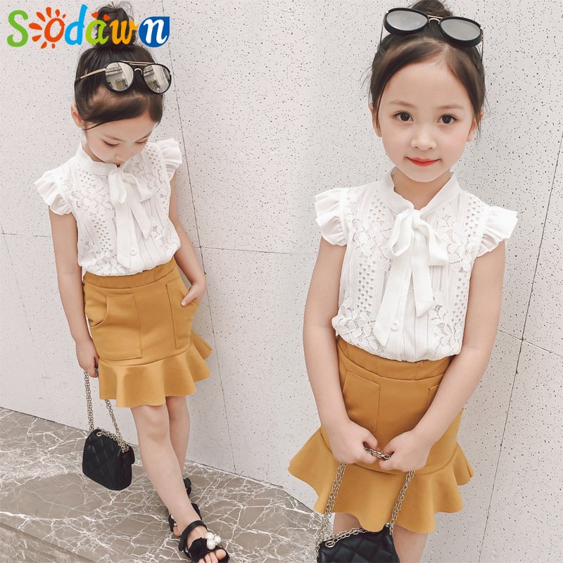 Sodawn Children Clothing Suit 2018 New Fashion Summer Lace Sleeveless Top + Fishtail Dre ...