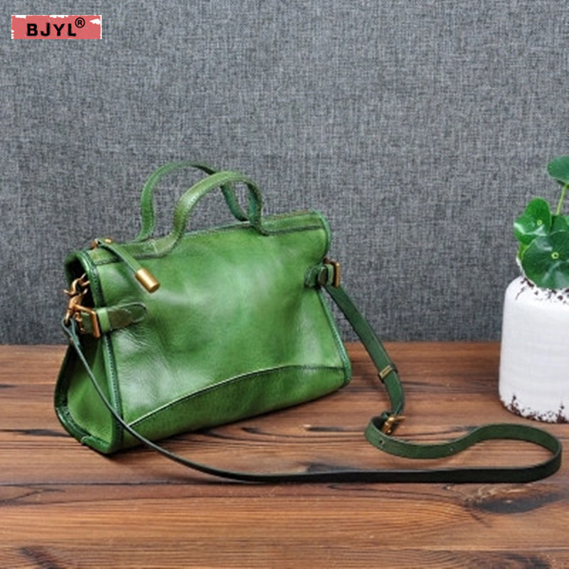 BJYL Handmade small Women bag Original design retro vegetable tanned leather shoulder Bags female handbag portable Messenger bag