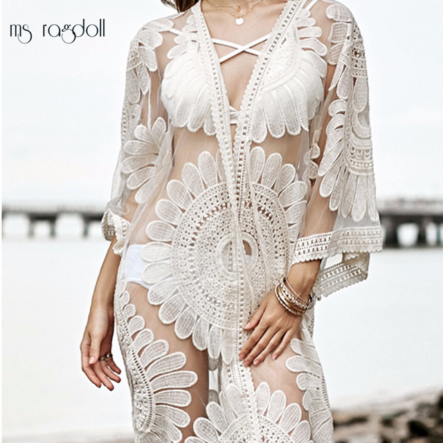 98a6b85aca 2018 Pareo Beach Cover Up Floral Embroidery Bikini Cover Up Swimwear Women  Robe De Plage Beach Cardigan Bathing Suit Cover Ups