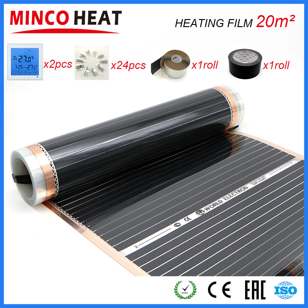 20M2 Infared Electric Floor Heater For Room + Clips Thermostat-in Floor Heating Systems & Parts from Home Improvement    1