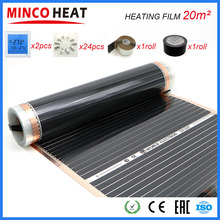 20M2 kızılötesi elektrikli zemin ısıtıcı oda + klipleri termostat