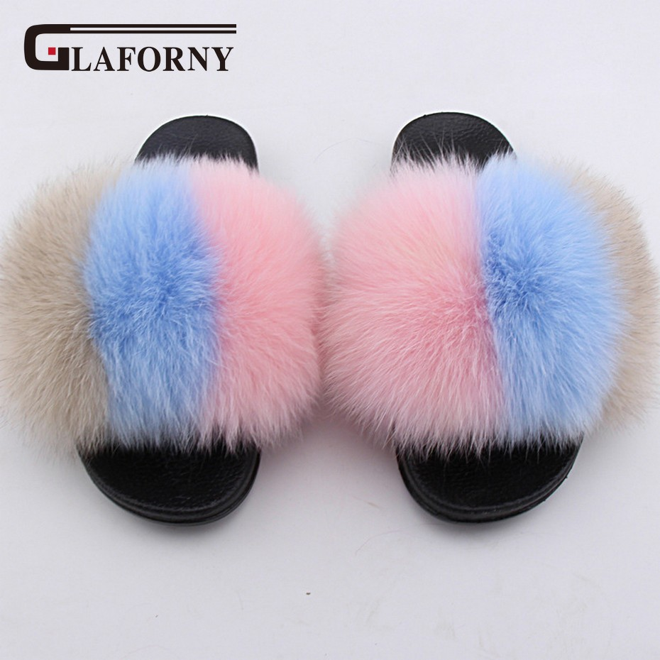 Apparel Accessories Logical Glaforny Real Fox Fur Multi Color Slipper Women Fur Sliders Spring Summer Autumn Fashion Lady Slide Indoor Outdoor Flat Shoes Fine Workmanship