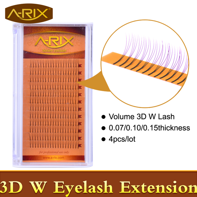 4packs Volume W 3D Eyelash Extension 0.07 0.10 0.15 Individual Eye Lashes Professional Makeup Tools Thick Long Lash From Korea