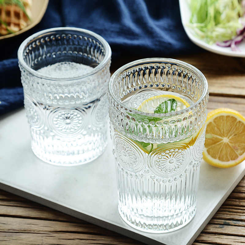 Transparent Glass Cup Large Ice Beer Glass Cup Cocktail Whisky Drinking Glasses Juice Tea Glass Mug Fancy Glassware Drinkware