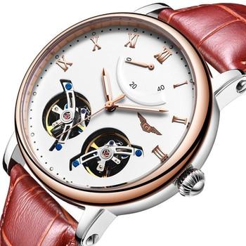 GUANQIN Fashion Men Watches Double Tourbillon Luxury Brand  Automatic Watch Men Luminous Analog Clock Leather Strap Wrist Watch