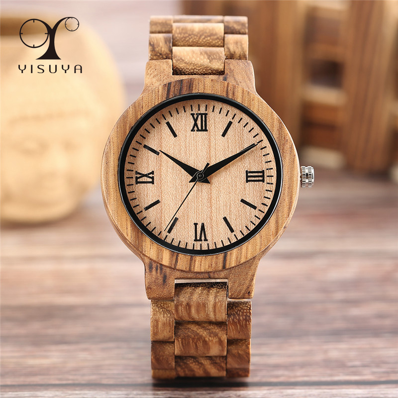 YISUYA Wooden Watches Clock Bracelet Quartz Handmade Minimalist Hour Creative Men Women title=